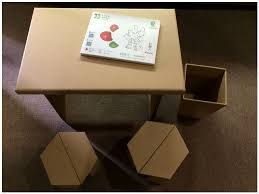 new arrival cardboard children study table and chair children