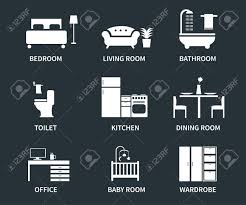 home interior design icons for bedroom living room bathroom