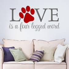 wall decals stickers home decor home furniture diy love is a four legged word quote paw print vinyl wall art sticker decal hallway