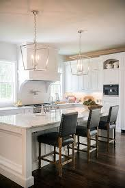 Kitchen Pendant Lighting Island by Stunning White Kitchen With Silver Lanterns And Dark Leather