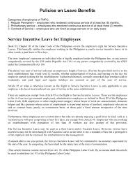 Resume Samples In The Philippines by Policies On Leave Benefits Sick Leave Parental Leave
