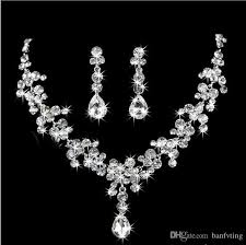silver bridal necklace images 2017 new style sparkling silver bridal rhinestone crystal drop jpg