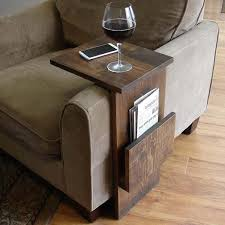 the handmade sofa end table with side storage slot make the shelf