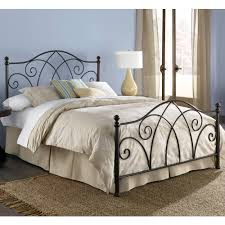Curtains For Headboard Bedroom Design Black Wrought Iron Headboard With Beige Bed Skirt