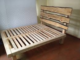 homemade king size wood bed platform bed frame with headboard