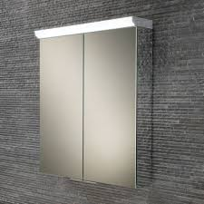 hib flare double door mirrored cabinet with led w60 x h70 x d15cm