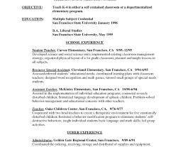 elementary resume template unusualer sle resumeerassistant elementary science resumes and