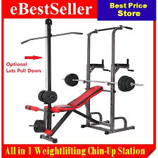 Commercial Sit Up Bench F8 Multifunction Home Gym Weightlifting Bench Chin Up Pull Up Bars