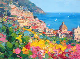painting positano italy original painting oil painting abstract