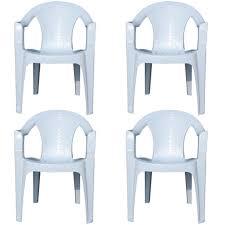 4 x indoor u0026 outdoor white plastic lawn chairs garden patio