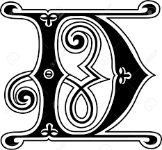 classic style english alphabet letter d monochrome royalty free