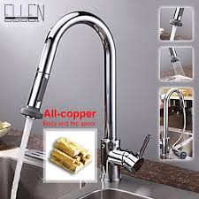 single lever kitchen faucet with mixer and cold water tap pull