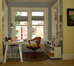 flooring eclectic home office plus baseboard with bay window and