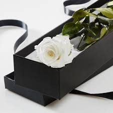 Roses In A Box Single White Rose In A Silk Lined Gift Box Petals U0026 Roses