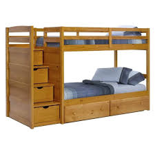 bedroom photo of twin over bunk bed with stairs and trundle