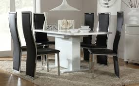 High Gloss Extending Dining Table Extending Dining Table And 6 Chairs Modern Home Design
