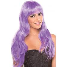 halloween costume wigs long wavy wig with bangs in lavender purple halloween mardi