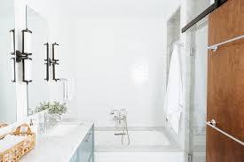 Shower Door Rails Walk In Shower With Wood Barn Door On Rails Contemporary Bathroom
