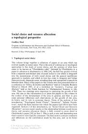 social choice and resource allocation a topological perspective
