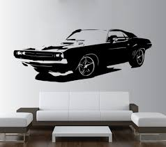 home decor wall art stickers aliexpress com buy removable large car dodge challenger bedroom