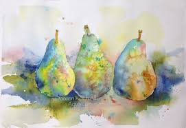Swiss Koch Kitchen Collection Rainbow Pears Original Watercolor Painting 7 5 X 11 Ooak