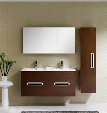 adornus yakira 48 inch double sink walnut wall mounted bathroom vanity