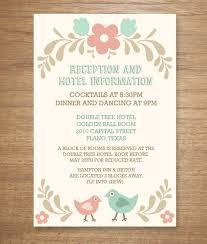 wedding reception cards folksy birds print