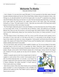 welcome to alaska reading comprehension worksheet