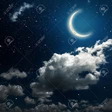 backgrounds sky with and moon and clouds wood