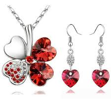 red colour necklace set images Heart shape jewellery set swarovski crystal splendid jewellery jpg