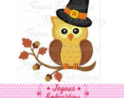 thanksgiving owl applique embroidery design etsy
