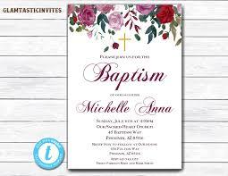 floral baptism invitation baptism invitation printable