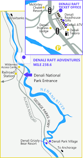 denali national park map denali rafting location in denali park