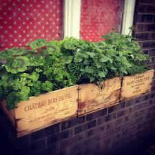 window box herb garden made from vintage wine crates garden zen