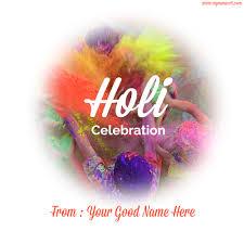write name on holi celebration wishes and greetings free