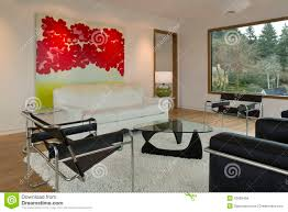 modern minimalist living room with artwork stock photo image