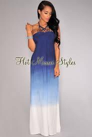 ombre maxi dress blue ombre strappy halter neckline maxi dress