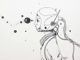 saatchi art astronaut drawing by robson clecio