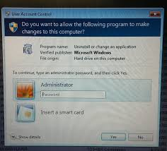 insert a smart card u201d prompt instead of administrator credentials