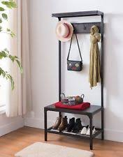 hall tree bench espresso industrial look entryway shoe bench with coat rack hall
