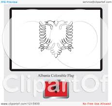 clipart of a coloring page and sample for an albania flag