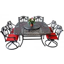 furniture set outdoor cast aluminum 10 pc palm tree dining garden bronze