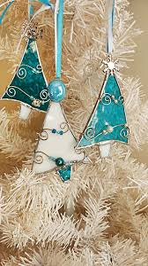 stained glass tree ornaments teal and white by miloglass