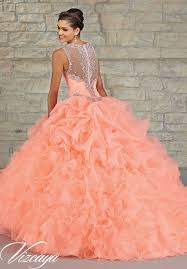 coral quince dress ruffled organza skirt with embroidered and beaded bodice