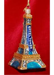 eiffel tower glass personalized ornaments by