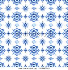 delft blue style seamless pattern watercolor stock illustration