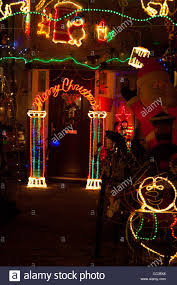 front door of a house covered in illuminated decorations