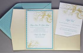 diy pocket invitations diy gold aqua pocket wedding invitation