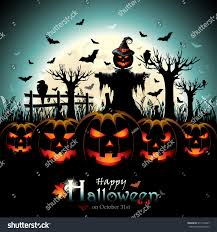halloween design pumpkins scarecrow front full stock vector