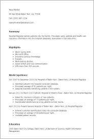 Patient Care Resume Sample by Professional Hospital Registrar Templates To Showcase Your Talent